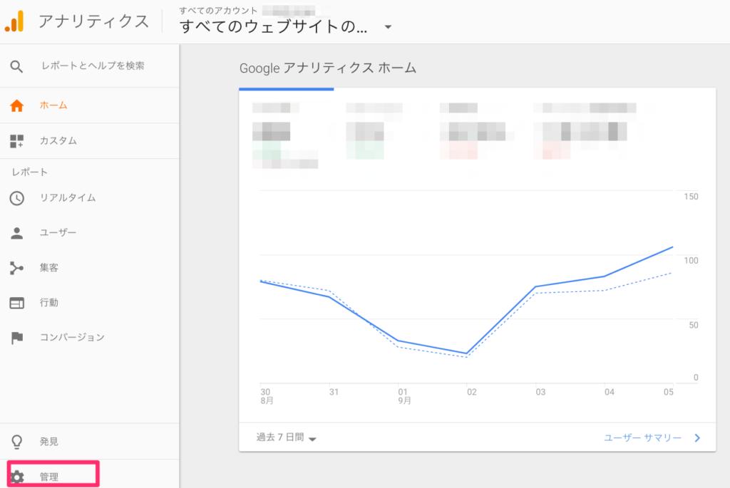 Google Analyticsにログイン後、左下の「管理」をクリック