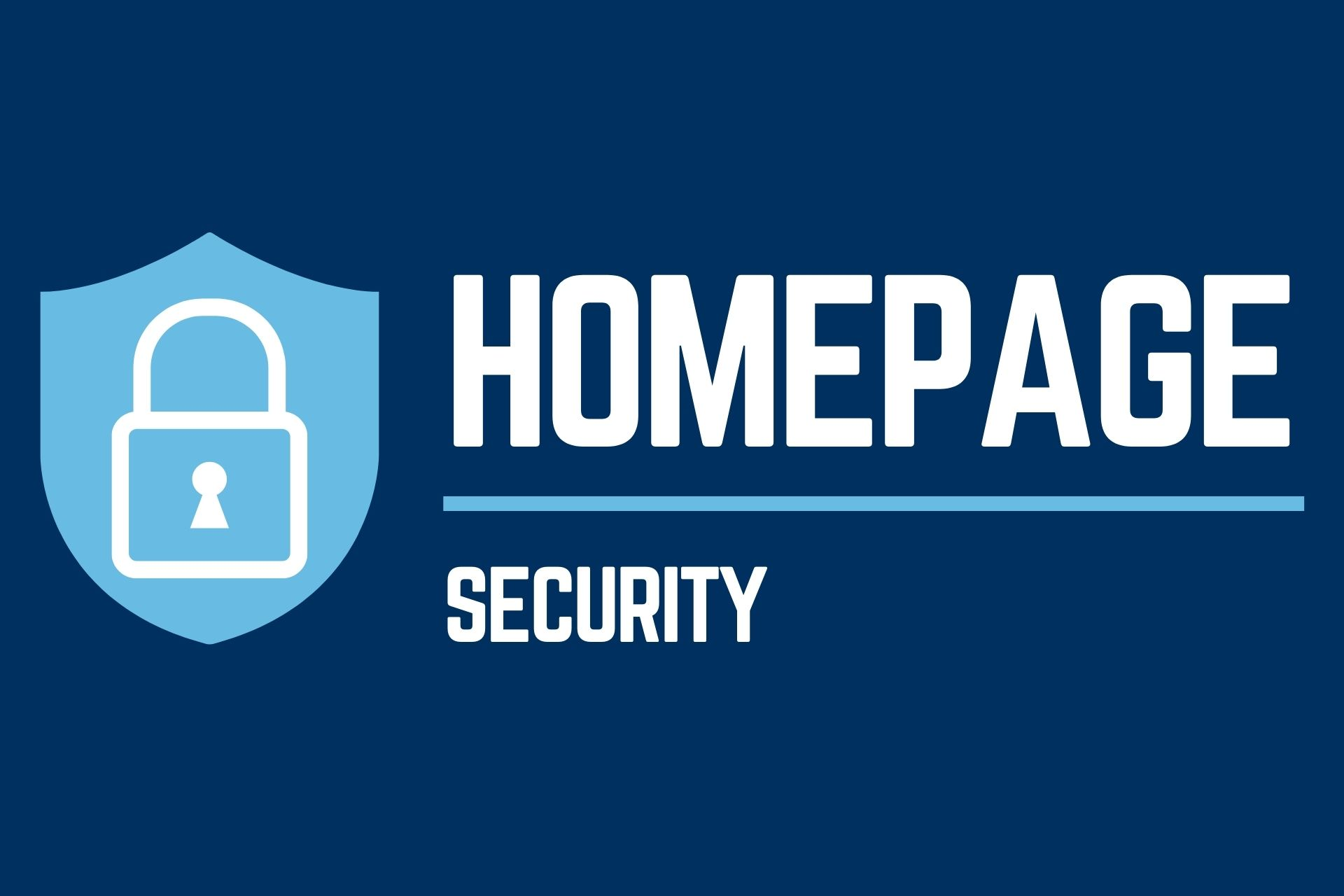 ネイビーの背景に南京錠のイラストとホームページセキュリティの英単語